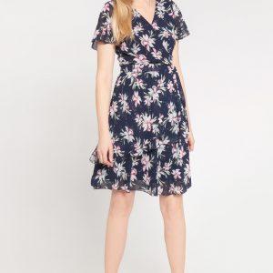 Granatowa kopertowa sukienka w lilie