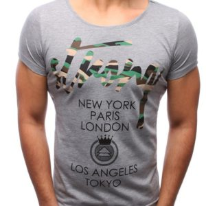 T-shirt męski z nadrukiem szary (rx2190)