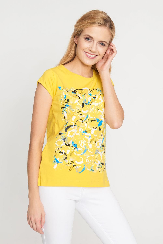 Żółta wzorzysta bluzka z krótkim rękawem