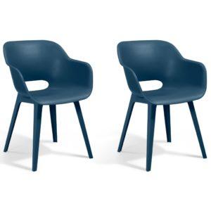 Allibert Krzesła ogrodowe Akola, 2 szt., kolor głęboki morski