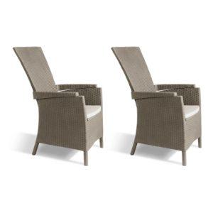 Allibert Rozkładane krzesła ogrodowe Vermont, 2 szt., kolor cappuccino