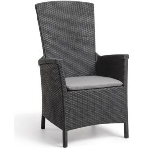 Allibert Rozkładane krzesło ogrodowe Vermont, grafitowe, 238452