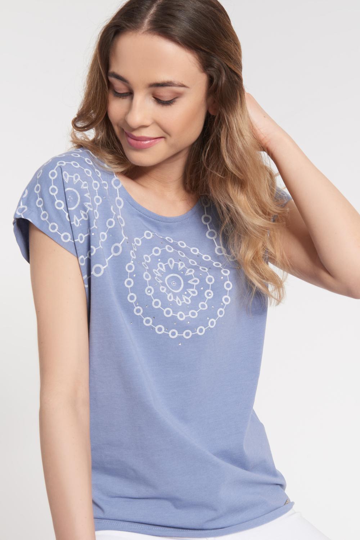 Bawełniana szaroniebieska bluzka z kolistym wzorem