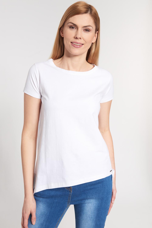 Biała asymetryczna bluzka z krótkim rękawem