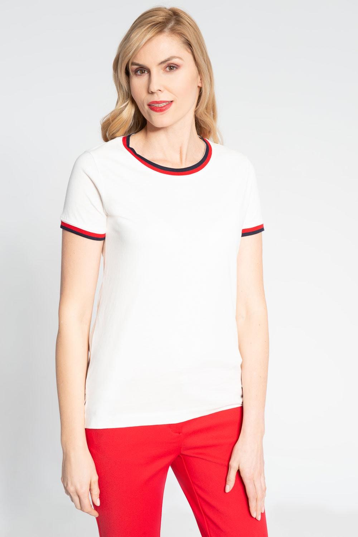 Biała bluzka z czerwoną lamówką
