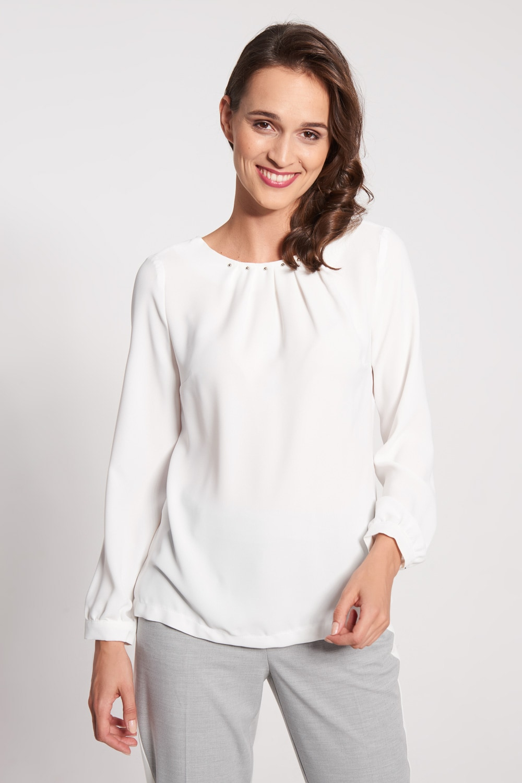 Biała bluzka z marszczonym dekoltem