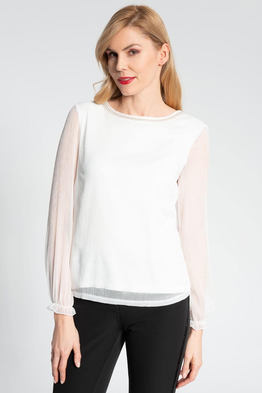 Biała dwuwarstwowa elegancka bluzka