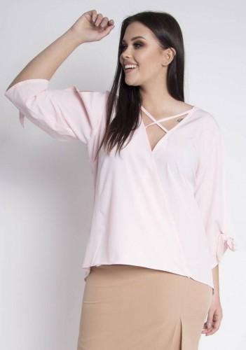 Bluzka MARIMA elegancka ozdobne wiązanie na rękawach paseczki dekolt pudrowy róż