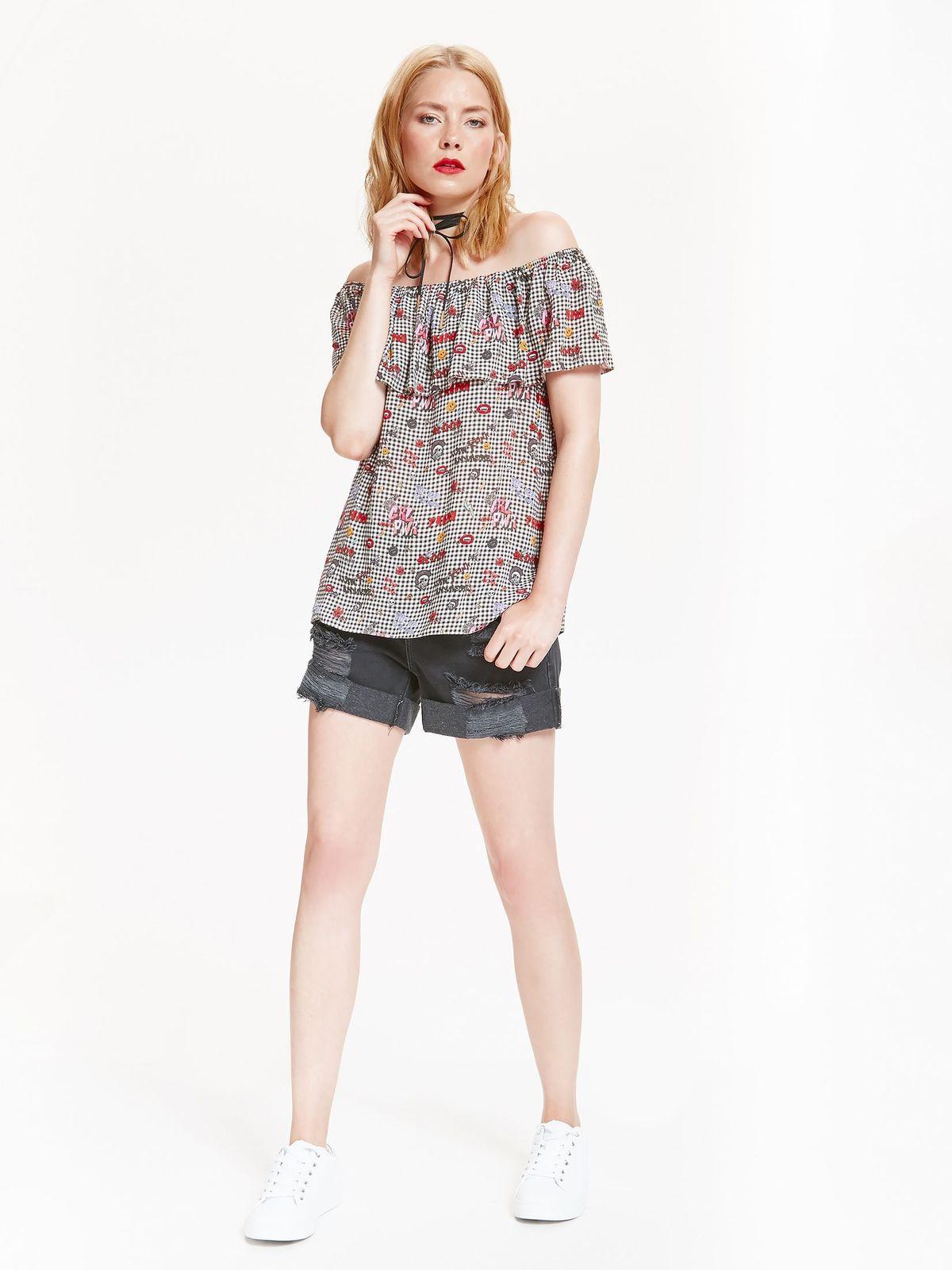 Bluzka damska z odkrytymi ramionami, z falbaną, w nowoczesny druk