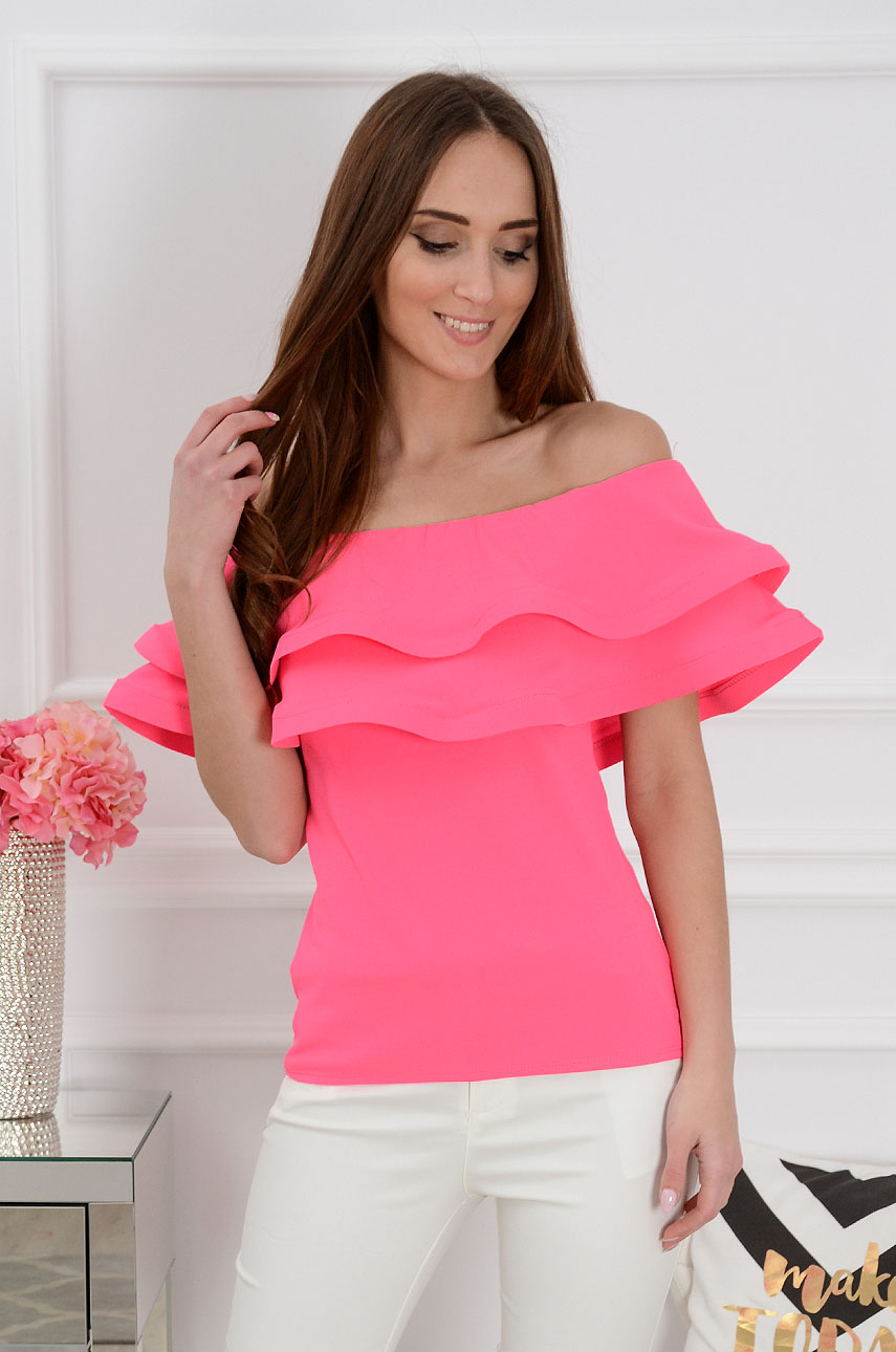 Bluzka hiszpanka z podwójną falbaną neon róż Anja Rozmiar: UNI