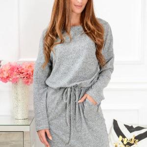Ciepła sukienka kimono Octavia szary melanż Rozmiar: 2XL