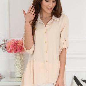 Długa koszula asymetryczna beżowa Musse Rozmiar: XL