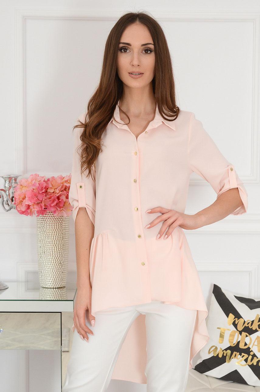 Długa koszula asymetryczna pudrowy róż Musse Rozmiar: XL
