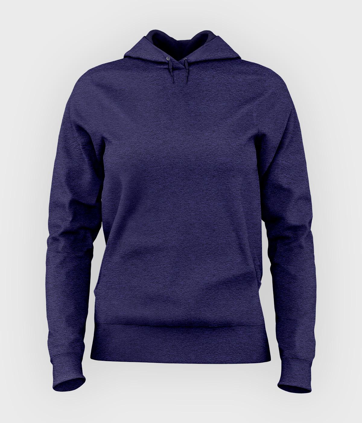 Damska bluza z kapturem taliowana (gładka, niebieska)