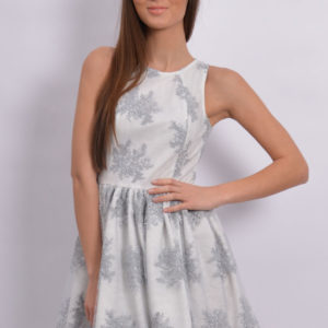 Ekskluzywna sukienka z koronki jasno szara Rozmiar: M