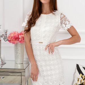 Elegancka sukienka koronkowa Indigo biała Rozmiar: L