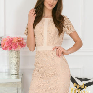 Elegancka sukienka koronkowa beż Indigo New Rozmiar: M
