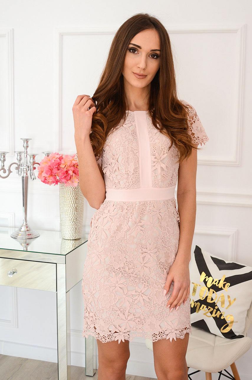Elegancka sukienka koronkowa brudny róż Indigo New Rozmiar: M
