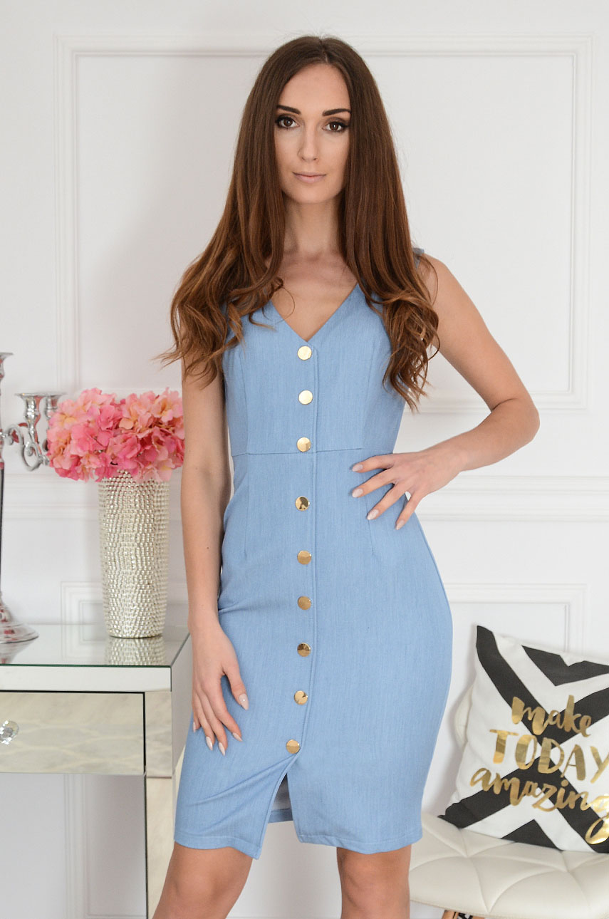 Elegancka sukienka taliowana jeans Emilie Rozmiar: L