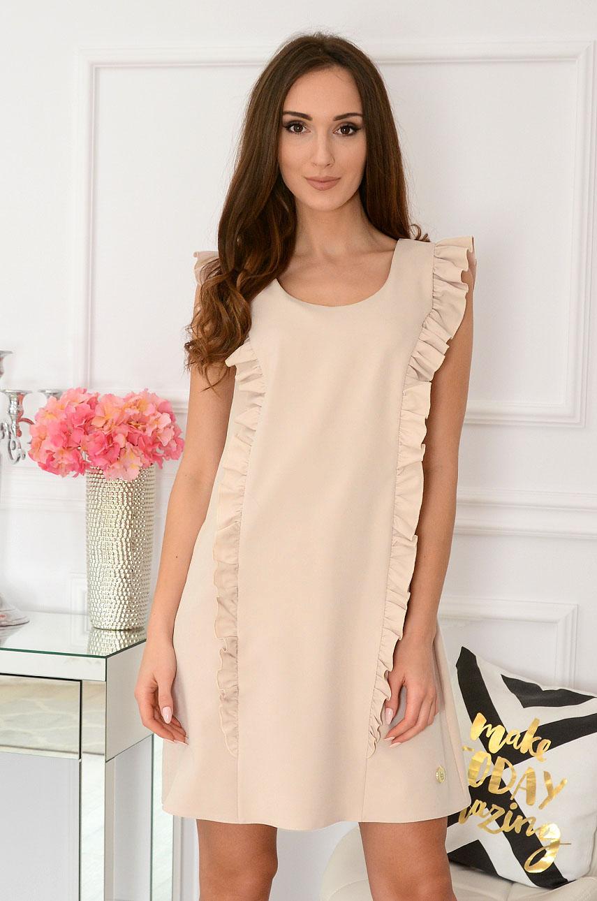 Elegancka sukienka trapezowa beżowa Rita Rozmiar: M
