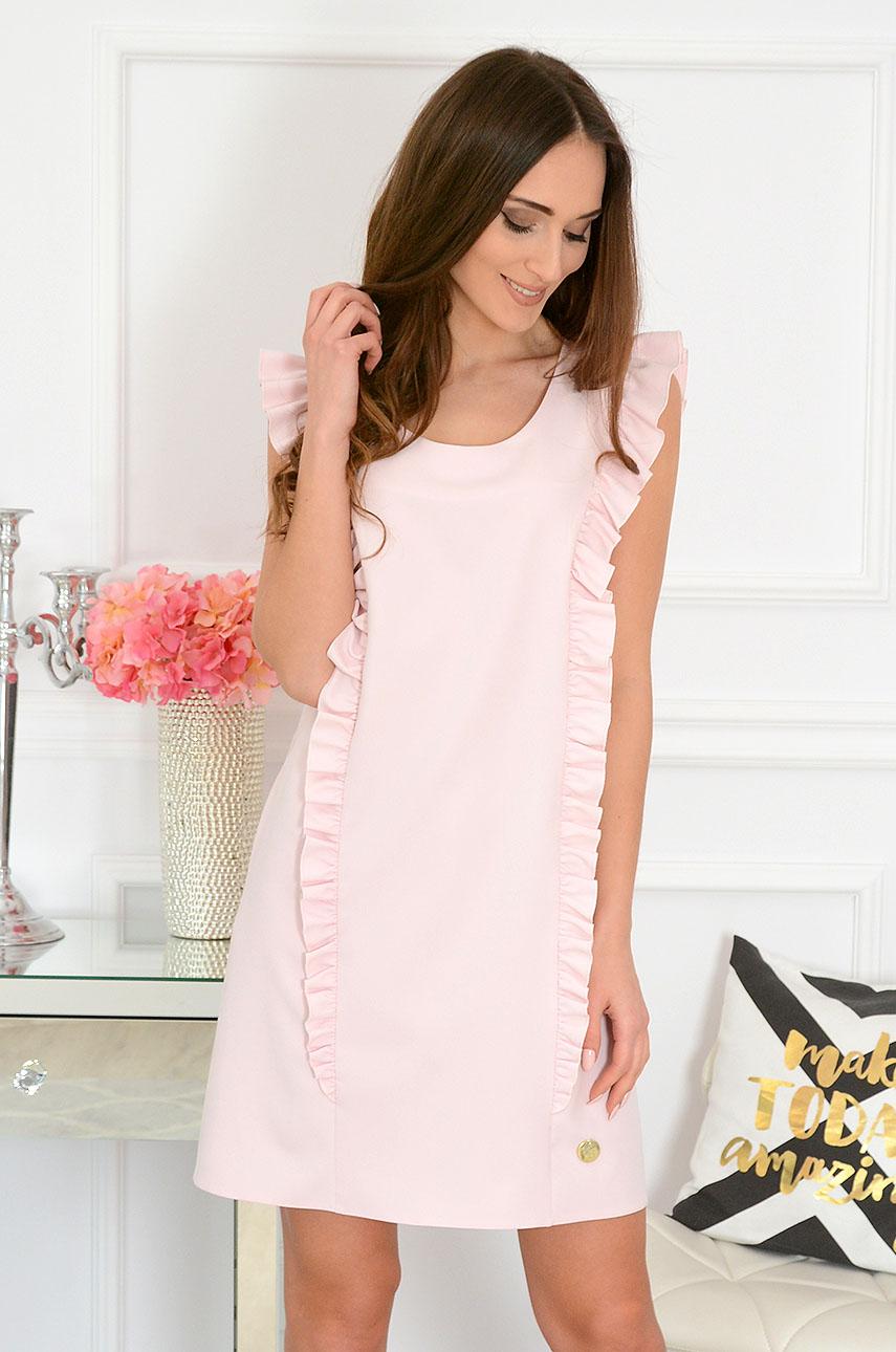 Elegancka sukienka trapezowa pudrowy róż Rita Rozmiar: M