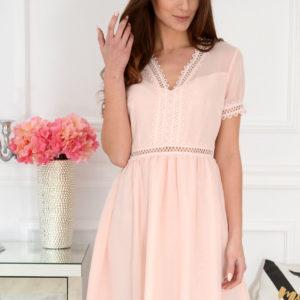 Elegancka sukienka z koronką pudrowy róż Loeve Rozmiar: S