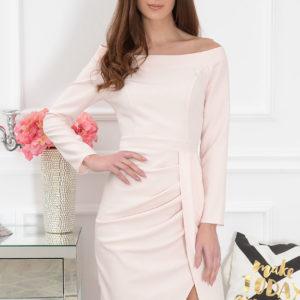 Elegancka sukienka z marszczeniem pudrowy róż Lotte Rozmiar: L