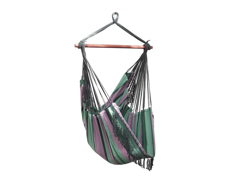 Fotel hamakowy Brazilian, różowo-zielony B5