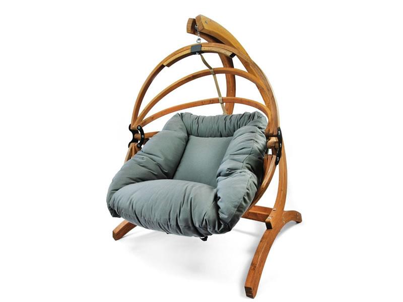 Fotel hamakowy drewniany Gaya(L)-G+Stojak Optimist, grafitowy Zestaw: Gaya (L)-G+Optimist