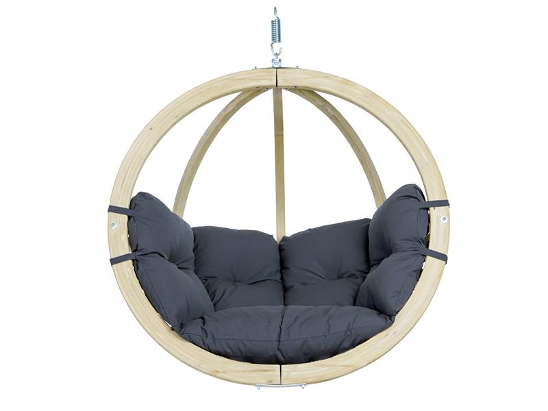 Fotel hamakowy drewniany, szaro-czarny Globo chair weatherproof