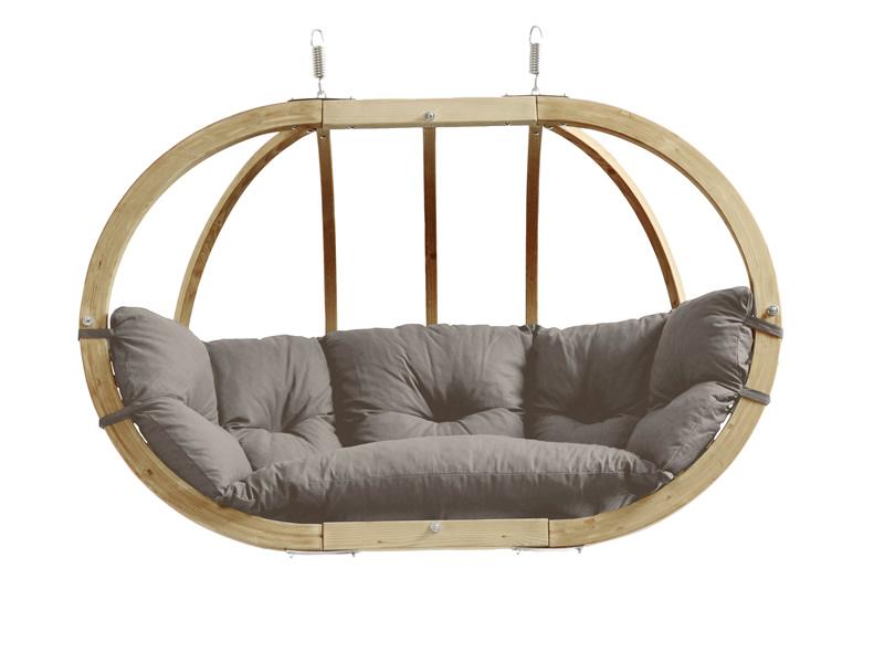 Fotel hamakowy dwuosobowy drewniany, Szary Globo Royal chair weatherproof