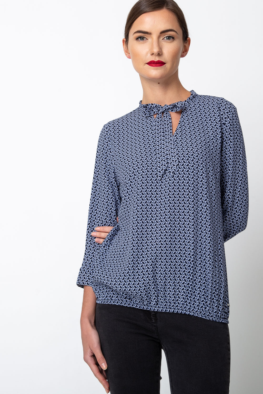 Granatowa bluzka bombka ze wzorem