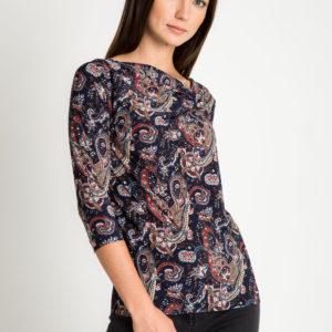 Granatowa bluzka z orientalnym wzorem