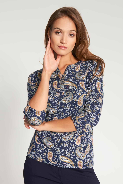 Granatowa koszulowa bluzka z dekoltem na guziki