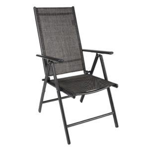 HI Rozkładane krzesło ogrodowe z aluminium, szare