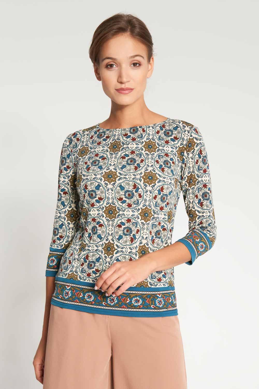 Luźna bluzka z orientalnym wzorem