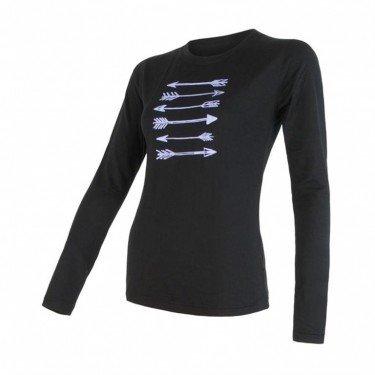 SENSOR Termoaktywna bluzka damska MERINO ACTIVE PT TEE LS - rozmiar S - kolor czarny -