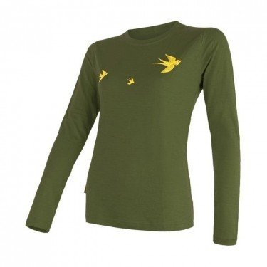 SENSOR Termoaktywna bluzka damska MERINO ACTIVE PT TEE LS - rozmiar S - kolor oliwkowy -