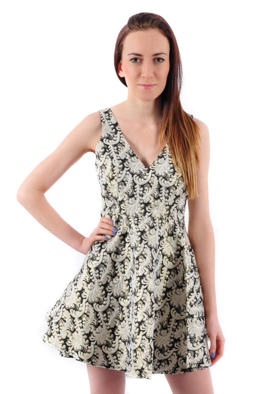 Sukienka żakardowa z koła czarno-złota Rozmiar: M