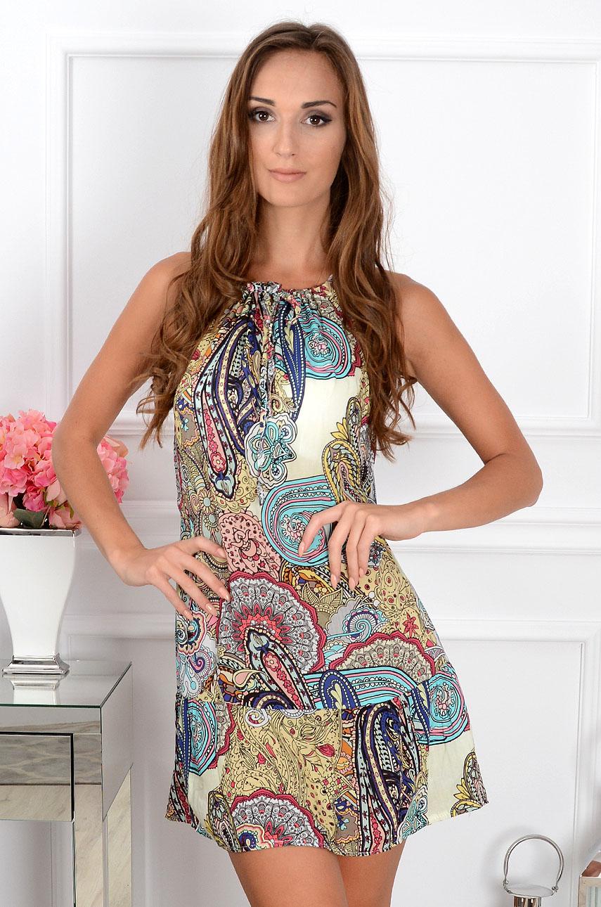 Sukienka Acapulco mini z falbaną cytryna Rozmiar: UNI