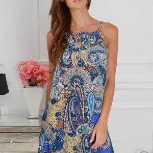 Sukienka Acapulco mini z falbaną kobalt Rozmiar: UNI