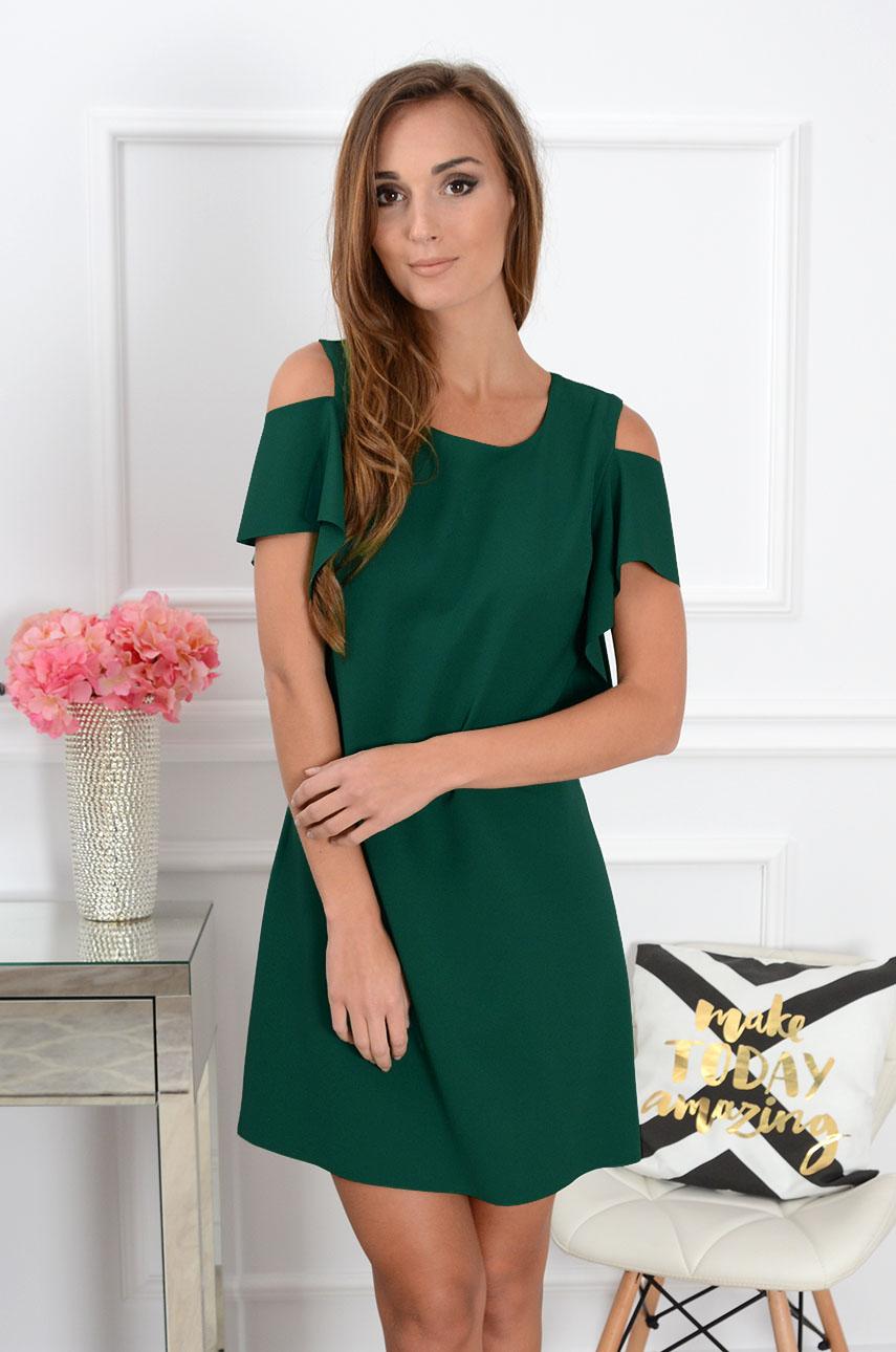 Sukienka Adria gołe ramiona butelkowa zieleń Rozmiar: S