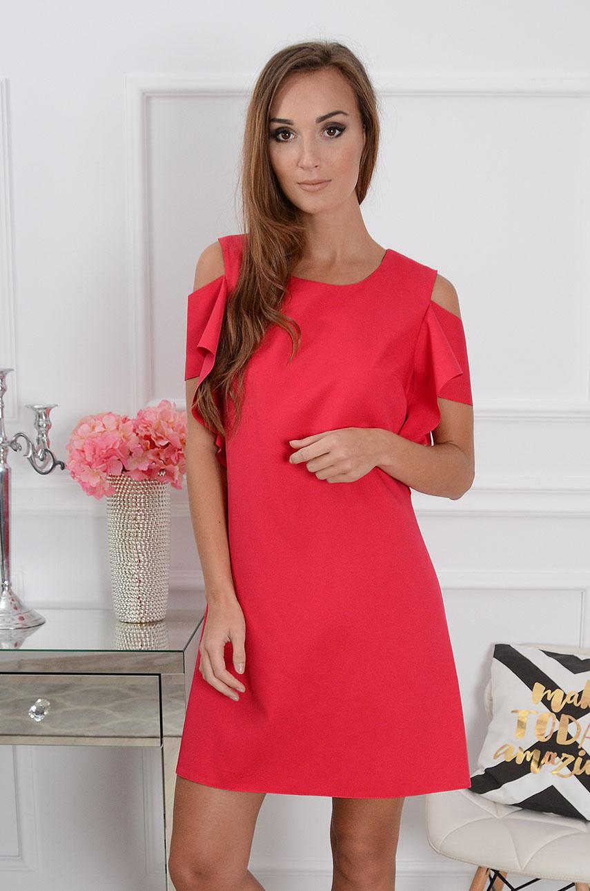 Sukienka Adria gołe ramiona czerwona Rozmiar: S