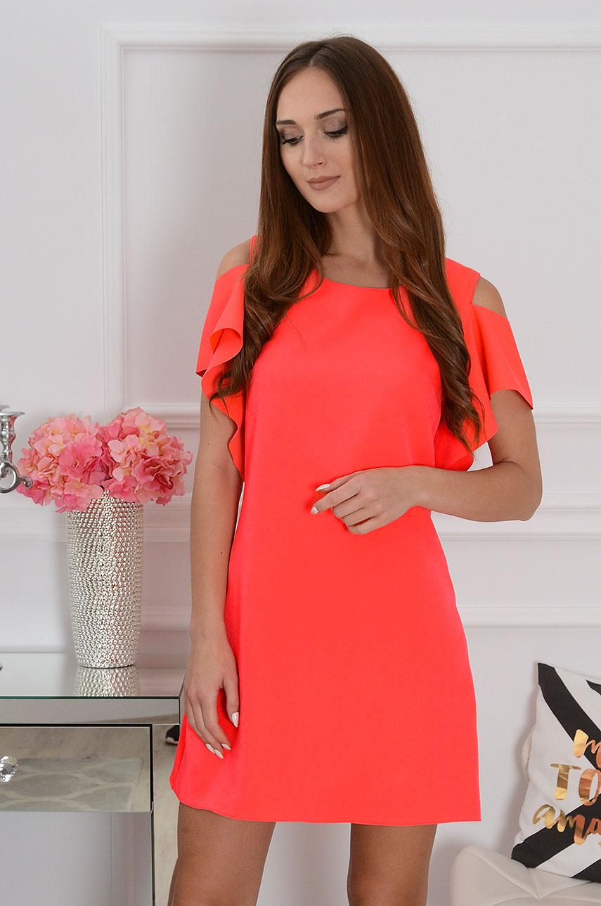 Sukienka Adria gołe ramiona neon koral Rozmiar: M
