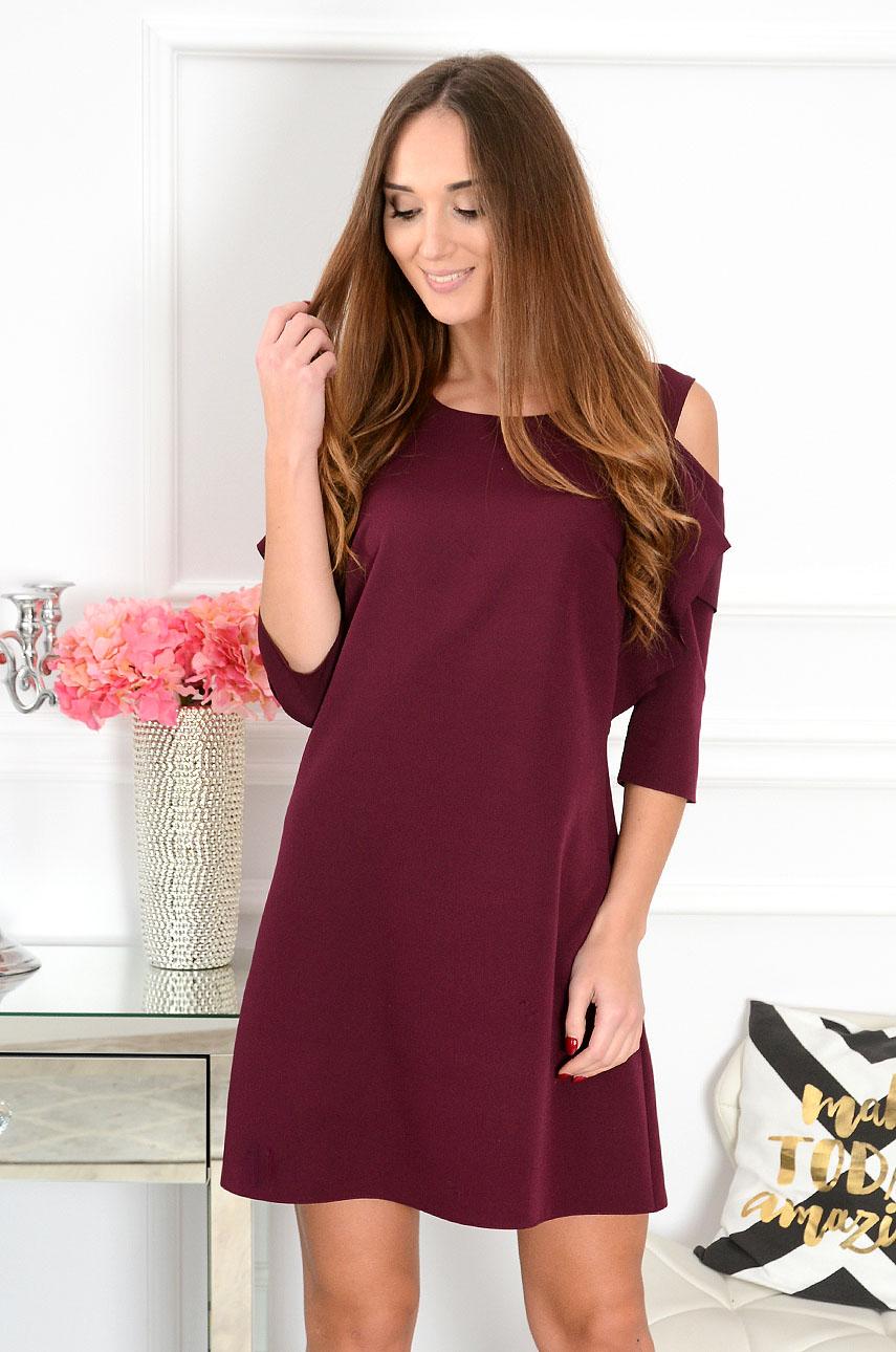 Sukienka Adria gołe ramiona z rękawem bordo Rozmiar: M