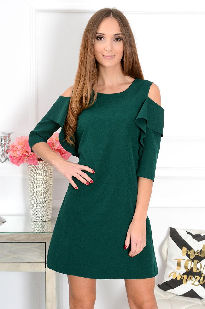 Sukienka Adria gołe ramiona z rękawem ciemna zieleń Rozmiar: M