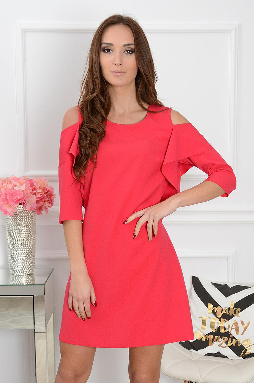 Sukienka Adria gołe ramiona z rękawem czerwona Rozmiar: S