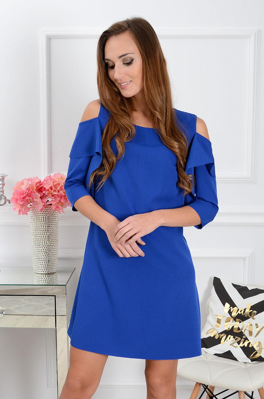 Sukienka Adria gołe ramiona z rękawem kobalt Rozmiar: S