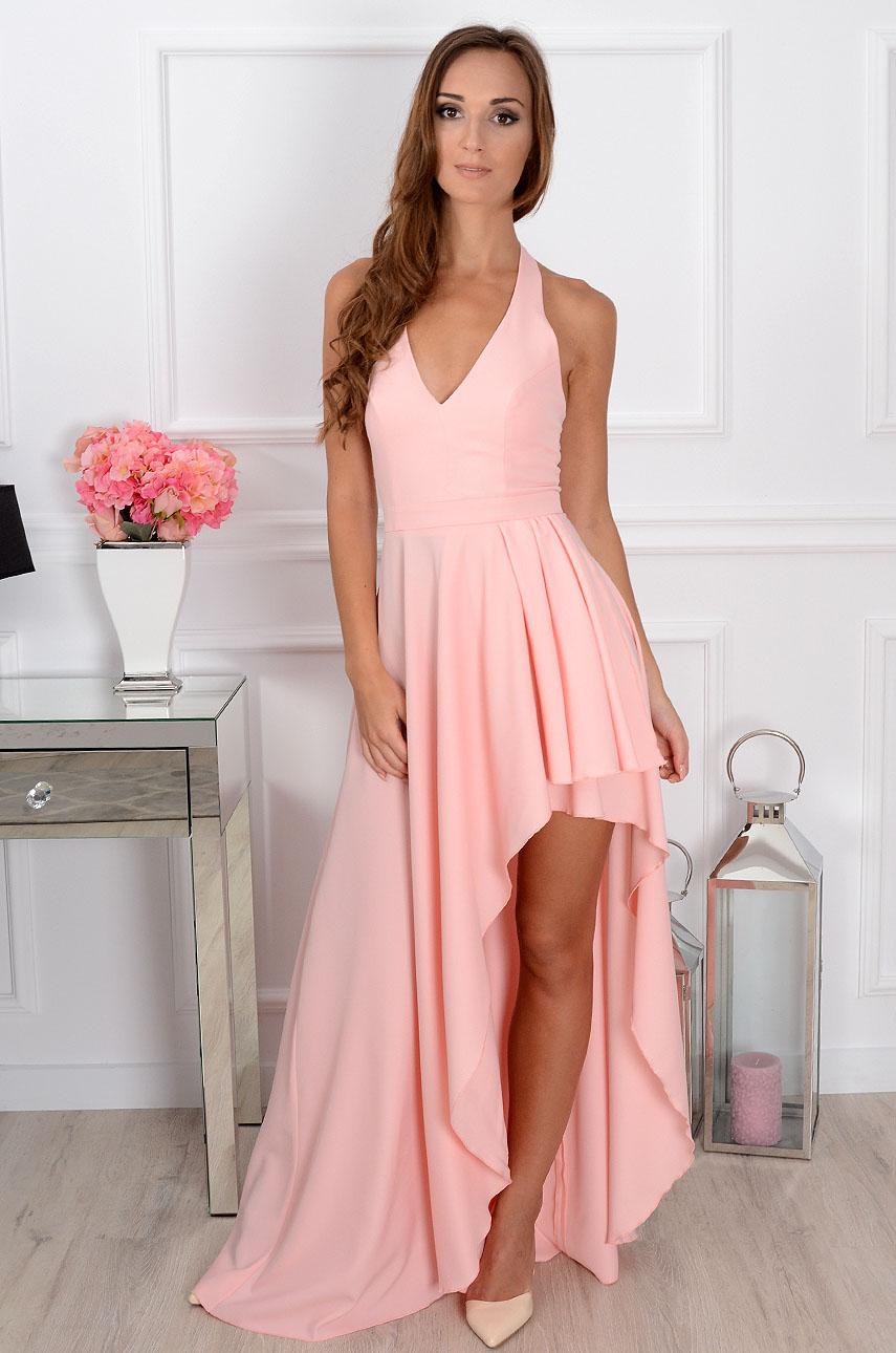 Sukienka Afrodyta maxi asymetryczna pudrowy róż Rozmiar: XS