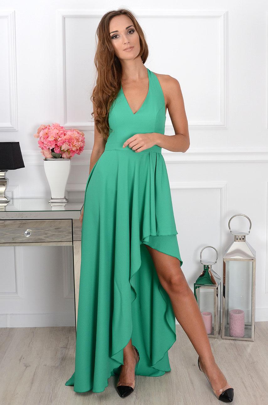 Sukienka Afrodyta maxi asymetryczna zielona Rozmiar: S